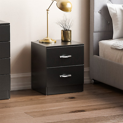 Riano Bedside Cabinet Black 2 Drawer Metal Handles Runners Bedroom Furniture