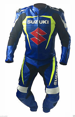 BLUE SUZUKI Motorbike Motorcycle  Leather racing 1 & 2 piece Suit tailor made