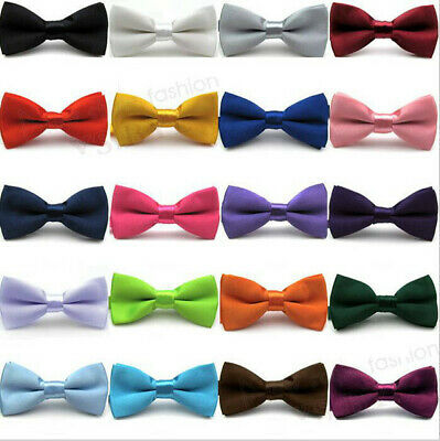 Boys Kids Pre Tied Bow Ties Wedding Party Occasions Adjustable Tuxedo Plain