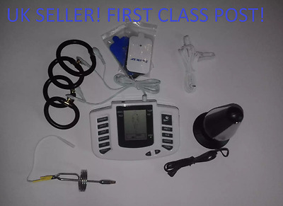 Electro Tens Ems Lcd Set With Urethral,Large Plug,Pads,Clips,And 4 Rings.uk !
