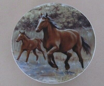 Horse Plate 2001 Hautmen Brothers Tone World Mare And Foal 8 Inch Plate