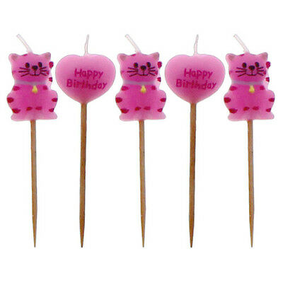 Pink Cat Birthday Candles