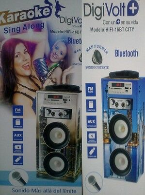 Altavoz Reproductor Portatil Karaoke Mp3 Usb Bluetooth Fm Dos Microfonos City