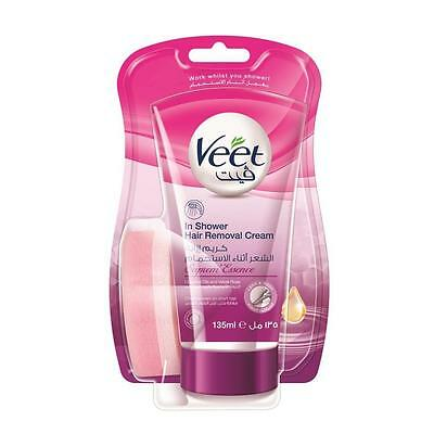 ** Veet In Shower Hair Remover Cream Legs & Body New ** 135Ml Velvet Rose