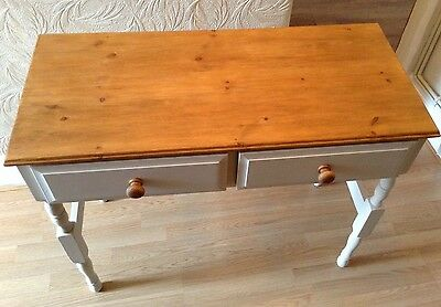 Shabby Chic Pine Antique French White Painted Hall Table. Delivery Available.