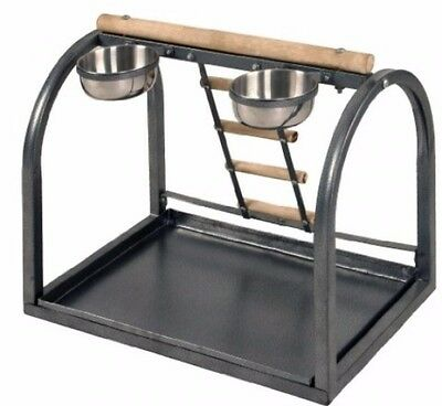 Parrot Table Stand With Built In Ladder And Food Bowls Pet Birds Activity Play