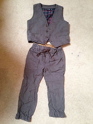 Boys Next Tweed 3 Piece Outfit Waist Coat/trousers/shirt 2-3 Yrs 98cm