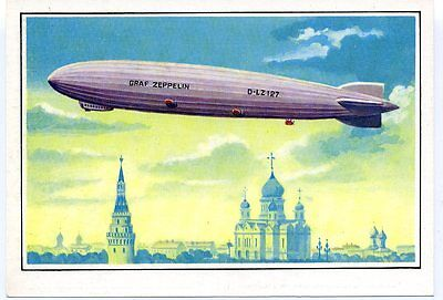 1991 Airship LZ 127 Graf Zeppelin Moscow Absolutely rare 15 000 Russian postcard