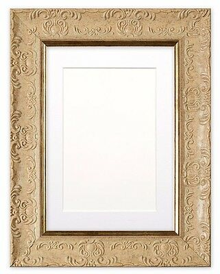 Wide Ornate MUSE Photo Picture Poster Frame with Bespoke Mount in Cream & Black
