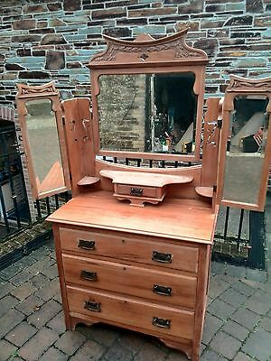 Satinwood Dresser Chest of Drawers 3 Mirror Art Nouveau