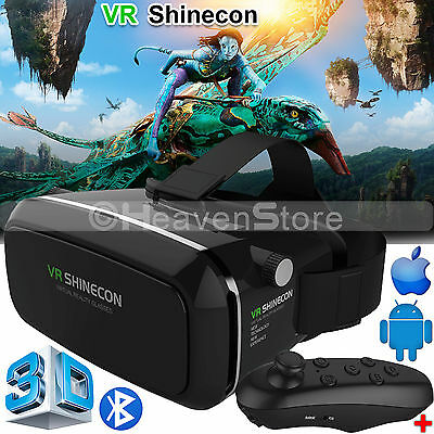Shinecon VR Box Virtual Reality 3D Headset Glasses + Remote for Android & iPhone