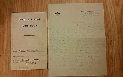 WW1 SOMME. COPY OF Lieut MACASKIES PILOT FLYING LOGBOOK AND LETTER HOME TO MUM.