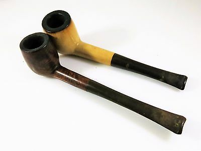2 X Wooden Tobacco Smoking Pipe Ropp Classic London Made Unique Brown