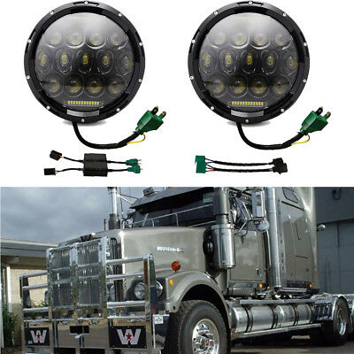2x Chrome Freightliner Century Light Projector LED Headlight For Pre 2005 Model