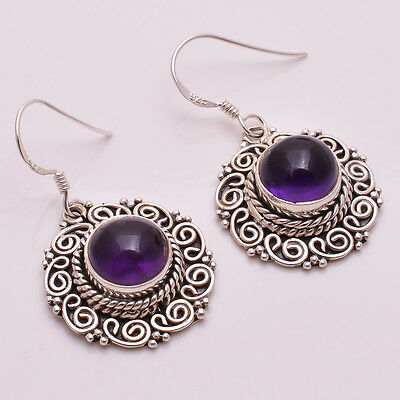 925 Solid Sterling Silver Earrings, Natural Amethyst Handcrafted Jewelry CE658