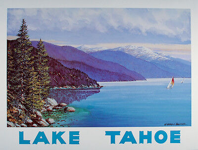 Vintage LAKE TAHOE Travel Poster ART PRINT W. Harold Hancock CALIFORNIA Nevada