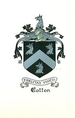 *Great Coat of Arms Cotton Family Crest genealogy, would look great framed!