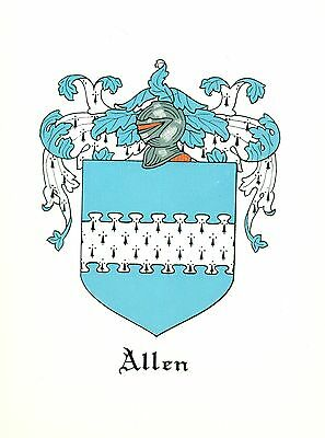 *Great Coat of Arms Allen (#2) Family Crest genealogy, would look great framed!