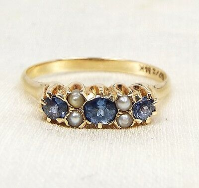 Antique Art Deco 14ct Gold Cornflower Blue Sapphire & Seed Pearl Ring / Size J