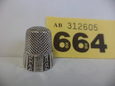 Vintage Continental / Euro Solid Silver Size 8 Thimble with Ornate Decoration