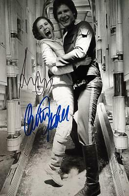 Carrie Fisher & Harrison Ford (Star Wars) Hand Signed 12x8 Photograph + COA