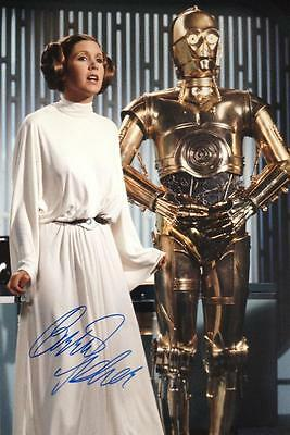 Carrie Fisher (Princess Leia - Star Wars) Hand Signed 12x8 Photograph + COA