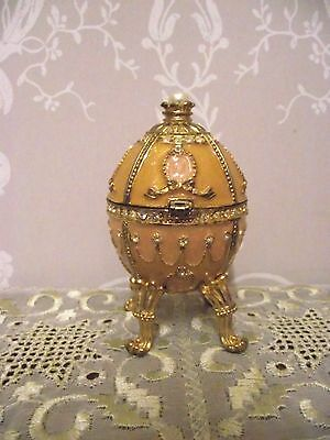 Beautiful Enamel & Gemstone Egg Trinket Box Keepsake/ring Case Pink/gold 9.5Cm