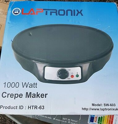 "Laptronix12"" INCH CREPE MAKER ELECTRIC NON STICK PLATE 1000W"