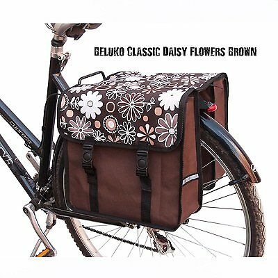 Bike Bicycle Double Pannier Bag Water Resistant Cycle Back Brown Flowers New