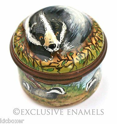 Halcyon Days Enamels Badger Bonbonniere Enamel Box