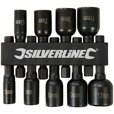 Silverline 9pc Metric Magnetic Nut Driver Set 5-12mm Hex Drive Drill Socket
