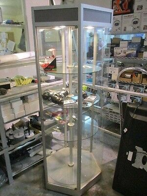Display cabinet LOCKABLE GLASS DISPLAY Hexagon Shaped Rotating Shelves
