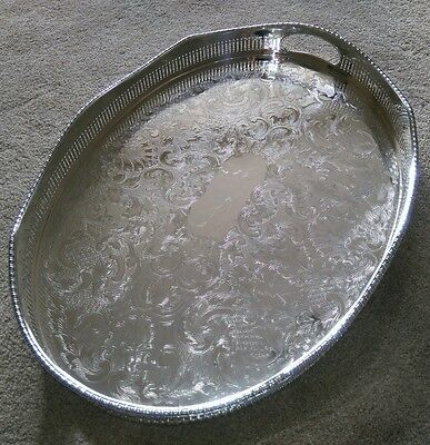 SUPERB Vintage Silver Plated Large Oval Chased Gallery Tea Drinks Serving Tray