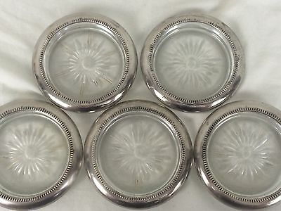 Leonard Silverplate Drink Coasters Set Of 5 Snowflake Italy Crystal Silver Rims