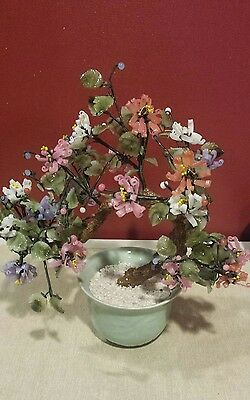 Vintage Asian Jade Bonsai Tree with Stone Glass Flowers Berries Lots of Color