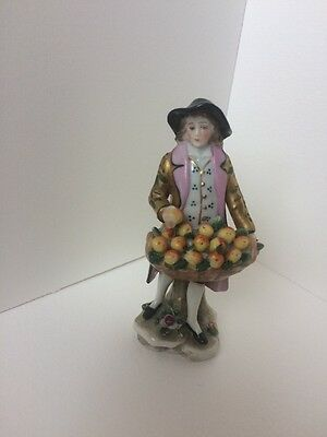 Antique Chelsea Porcelain Figurine Man With Apples, Gold Anchor 1756 - 1769
