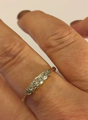 18ct Gold Platinum And Diamond Ring Size 01/2 Vintage