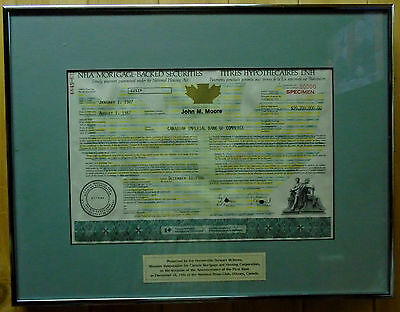 Canadian First Edition Nha Mortgage Security Certificate $20,7 Million