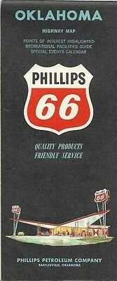 1963 PHILLIPS 66 Road Map OKLAHOMA City Tulsa Bartlesville Enid Ardmore Route 66