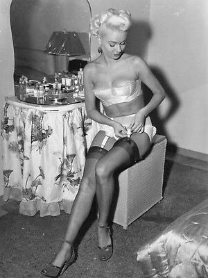 1960s Nude Blonde in black stockings sitting at vanity  8 x 10 Photograph