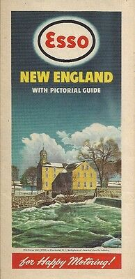 1947 ESSO Pawtucket Mill Road Map NEW ENGLAND Rhode Island Massachusetts Vermont