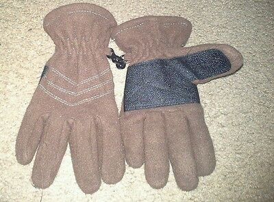 KIDS FLEECE GLOVES SIZE SMALL/Medium,brown with reinforced palm
