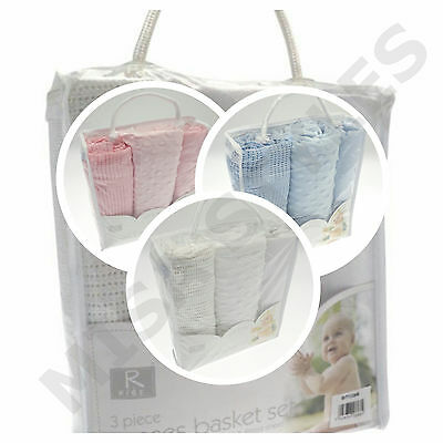 Newborn Baby 3Pc Moses Basket Bedding Set Cellular Bubble Blanket & Fitted Sheet