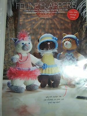SIMPLY KNITTING Toy Pattern FELINE FLAPPERS  by ALAN DART May 2014 Roaring 20s
