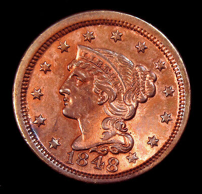 1848 Large Cent, Braided Hair Red