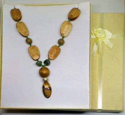 Wood Tigers Eye Necklace contains blessed by John of God Casa Crystal Aventurine