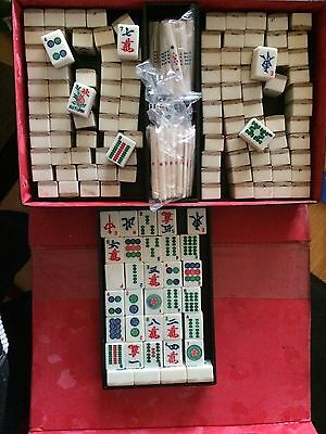 Vintage mahjong set 144 Tiles Markers Dice Bamboo & Cow Bone In Case