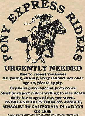 Pony Express~(I Combine Shipping)~Poster Old West Vintage Mail Western Horse