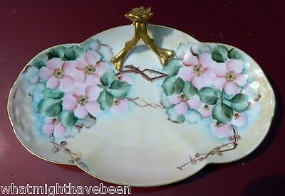 ANTIQUE LIMOGES HAND PAINTED WILD ROSE CANDY DISH SGND E. Ten Eyck 1912