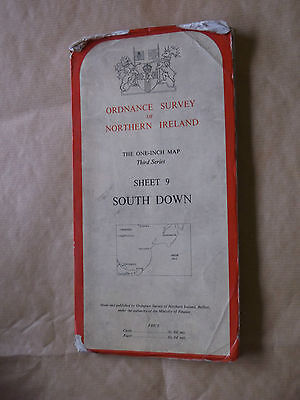 Ordnance Survey of N.I.;1 Inch Third series,South Down,Sheet 9,1966,on Cloth
